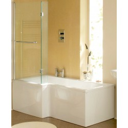 Elite L Shaped Shower Bath with Screen & Panel