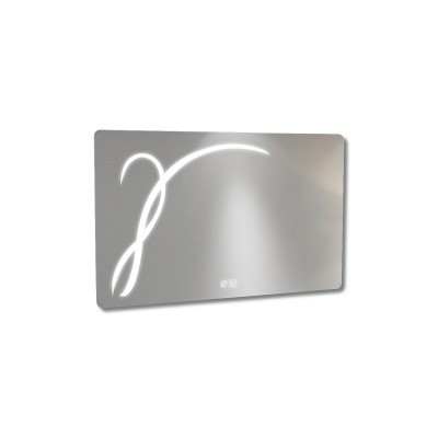 Messina Illuminated Mirror, Clock & Demister 900 x 560mm